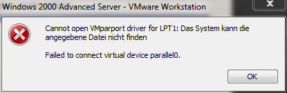 VMWare Workstation Error LPT